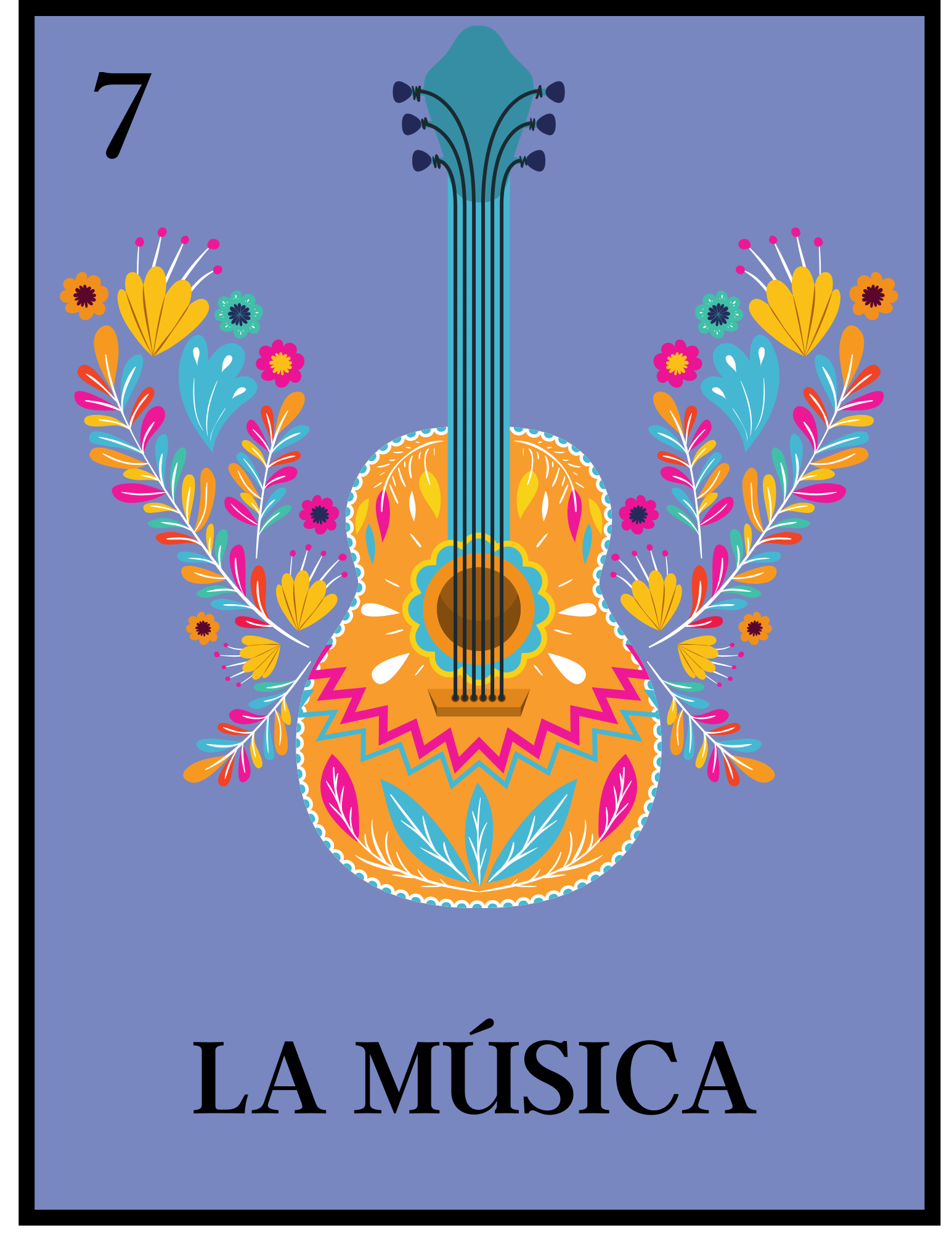 A decorated guitar with a label of La Musica